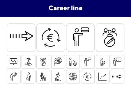 Career line icons. Set of line icons. Man holding presentation, man presenting credit card.Business concept.Vector illustration can be used for topics like business process,finance,professional skills Illustration