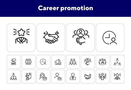 Career promotion line icon set. Candidate, selection, interview. Human resource concept. Can be used for topics like employment, corporate hierarchy, recruitment Illustration