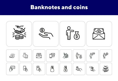 Banknotes and coins line icon set. Set of line icons on white background. Economy concept. Credit card, coins, businessman. Vector illustration can be used for topics like finance, investment, economy Ilustração