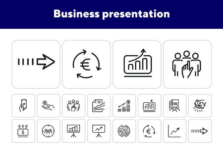 Business presentation icons. Set of line icons. Agile results, funding platform, automatic income. Business concept. Vector illustration can be used for topics like business process, communication