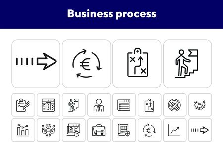 Business process icons. Set of line icons. Briefcase, business analysis, career ladder. Business concept. Vector illustration can be used for topics like business process, finance, professional skills