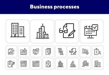 Business processes line icon set. Graphs, analytics, reports, office building. Business concept. Can be used for topics like exchange market, trading, analysis