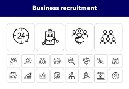 Business recruitment line icon set. Employees, selection, financial report. Human resource concept. Can be used for topics like employment, efficiency, personnel management Illustration