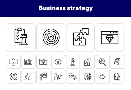 Business strategy line icon set. Presentation, target, chess. Business concept. Can be used for topics like project management, leadership, business process Banco de Imagens - 138229601