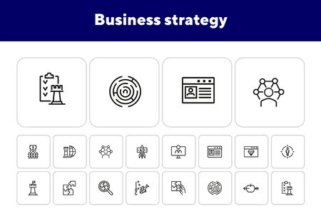 Business strategy line icon set. Puzzle, jigsaw, chess. Business concept. Can be used for topics like tactics, solution, aiming