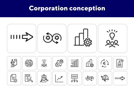 Corporation conception icons. Set of line icons.Agile management, bitcoin exchange, brainstorming.Business concept.Vector illustration can be used for topics like business process, professional skills