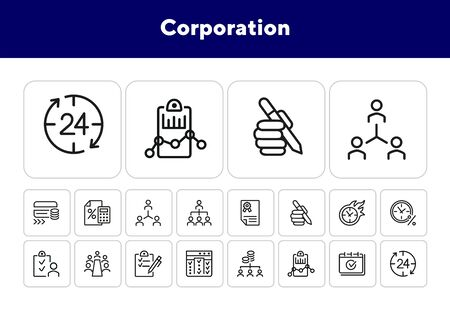 Corporation line icon set. Employees, flowchart, conference, time. Business concept. Can be used for topics like management, project, startup