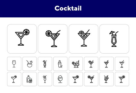 Cocktail line icon set. Vermouth, margarita, pina colada. Alcoholic drinks concept. Can be used for topics like bar, party, celebration Ilustrace