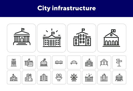 City infrastructure line icon set. Hospital, government, bridge, fountain. Buildings concept. Can be used for topics like urban life, town, architecture Çizim