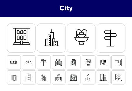 City line icon set. Skyscraper, bridge, fountain. Buildings concept. Can be used for topics like urban life, town, apartment house Çizim