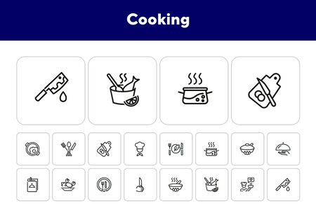 Cooking line icon set. Set of line icons on white background. Food concept. Plate, knife, chicken. Vector illustration can be used for topics like kitchen, food, cooking Ilustracja