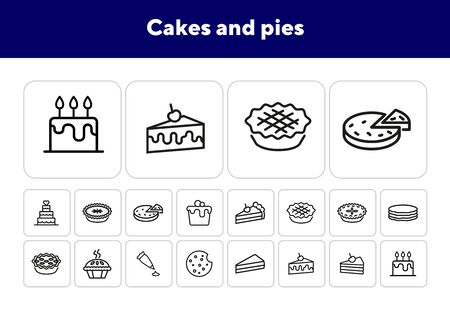 Cakes and pies line icon set. Birthday cake, slice, cookie, pancake. Food concept. Can be used for topics like dessert, confection, bakery, party Illusztráció