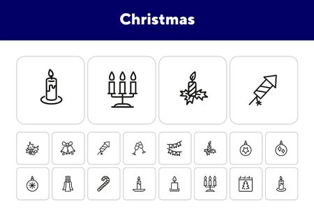 Christmas line icon set. Set of line icons on white background. Festive concept. Angel, candle, calendar. Vector illustration can be used for topics like Christmas, new year, decoration Çizim