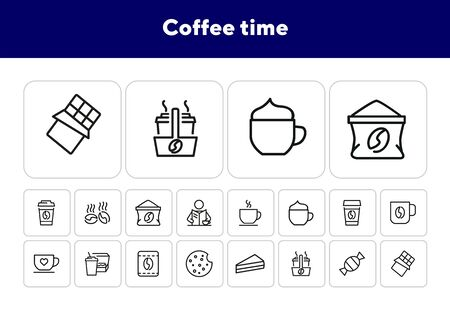 Coffee time icons. Set of line icons. Morning coffee, take away coffee, chocolate cookie. Coffee break concept. Vector illustration can be used for topics like business process, food, office life