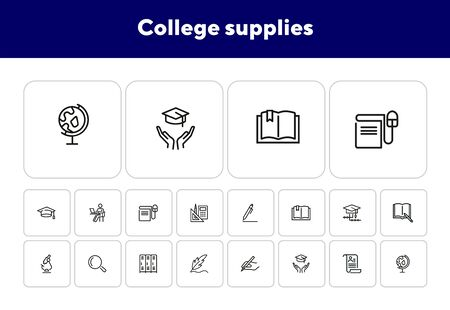 College supplies line icon set. Pen, graduation cap, cabin. Education concept. Can be used for topics like university, school, training Ilustrace