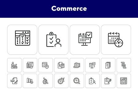 Commerce line icon set. Fax machine, clock in fire, documents. Business concept. Can be used for topics like time management, planning, banking Ilustração