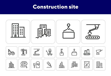 Construction site line icon set. Crane, drill, painting, brick work. Construction concept. Can be used for topics like building works, heavy machines, real estate development