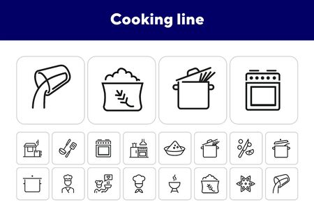 Cooking line icons. Set of line icons. Anise star, adding liquid, kitchen. Cookery concept. Vector illustration can be used for topics like food preparation, culinary art 向量圖像