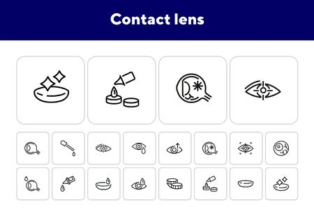 Contact lens icons. Contact solution, eye drops, eyeball. Eyesight correction concept. Vector illustration can be used for topics like healthcare, eyesight, ophthalmology Illustration