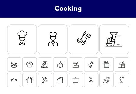 Cooking line icon set. Kitchen appliances, preparing food, chef. Recipe concept. Can be used for topics like kitchen, cooking course, restaurant 向量圖像