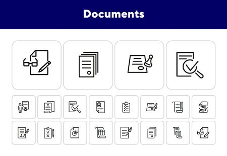 Documents line icon set. Set of line icons on white background. Office concept. Contract, report, clipboard. Vector illustration can be used for topics like office job, meeting, postal Ilustração