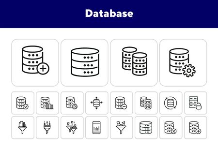 Database line icon set. Protection, analysis, filter, hardware. Information technology concept. Can be used for topics like data storage, server, data processing