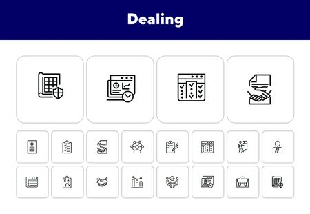 Dealing line icon set. Businessman, career, meeting, handshake. Business concept. Can be used for topics like planning, strategy, agreement Banco de Imagens - 138229618