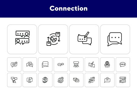 Connection line icon set. Set of line icons on white background. Communication concept. Chat, dialogue, message. Vector illustration can be used for topics like internet, globalization, communication