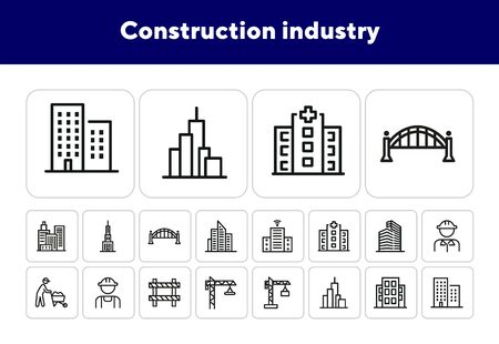 Construction industry icons. Set of line icons. City skyscrapers, urban landscape. Building concept. Vector illustration can be used for topics like business, construction, city planning