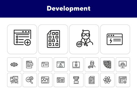 Development line icon set. Binary code, bot, software developer. Information technology concept. Can be used for topics like startup, internet, programming Illustration