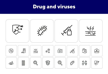 Drug and viruses icons. Set of line icons on white background. Syringe, bacteria, structure. Biology concept. Vector illustration can be used for healthcare, investigation Archivio Fotografico - 138038742