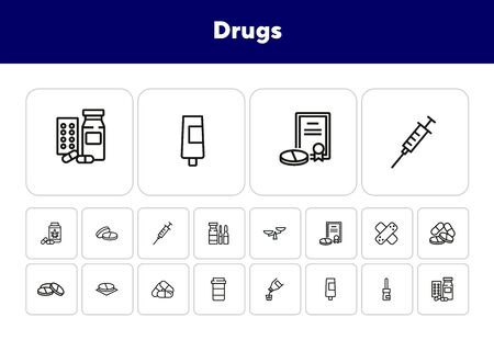 Drugs icon set. Drugstore concept. Vector illustration can be used for topics like apothecary, pharmaceuticals, medicine