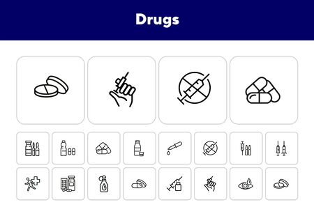 Drugs line icon set. Set of line icons on white background. Medicine concept. Syringe, drug, medical. Vector illustration can be used for topics like hospital, ambulance, pharmacy