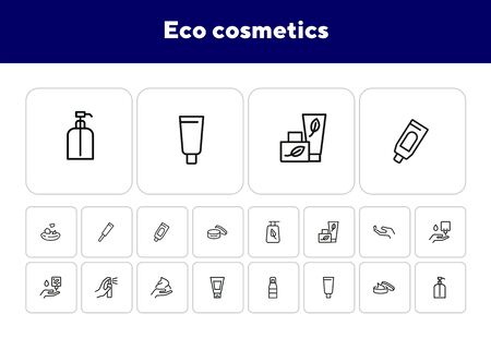 Eco cosmetics line icon set. Set of line icons on white background. Nature concept. Cream, gel, perfume. Vector illustration can be used for topics like ecology, green, natural cosmetics Çizim