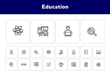 Education line icon set. Set of line icons on white background. Notebook, internet, studying. Self-education concept. Vector illustration can be used for topics like technology, devices, modern life