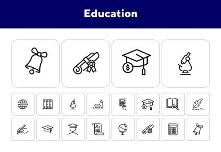 Education line icon set. Set of line icons on white background. Study concept. Bachelor, calculation, diploma. Vector illustration can be used for topics like university, college Ilustracja