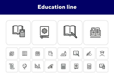 Education line icons. Set of line icons on white background. Studying concept. Globus, calculator, book. Vector illustration can be used for topics like high school, science, college Ilustracja