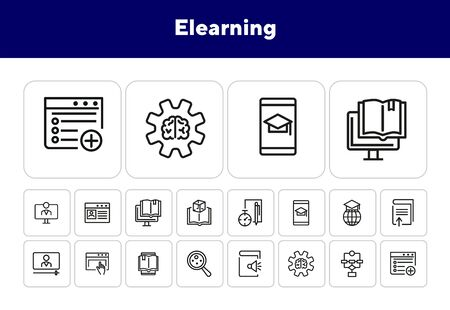 Elearning line icon set. Webinar, computer, book, gadget, hat. Education concept. Can be used for topics like online school, distance learning, studying, training