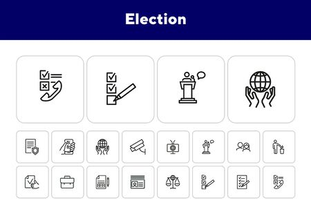 Election line icon set. Checkbox, checklist, vote, speech. Election concept. Can be used for topics like politics, law, survey