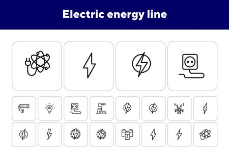 Electric energy line icon. Set of line icons on white background. Power, electricity, lightning. Energy resource concept. Vector illustration can be used for topics like power, electricity, signboards Stock Illustratie
