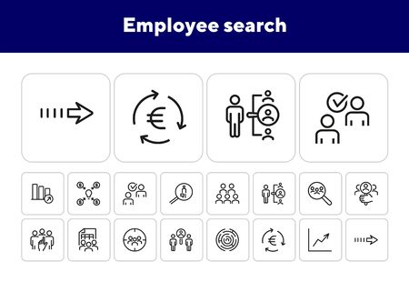 Employee search icons. Set of line icons. HR, idea funding, increasing graph. Headhunting concept. Vector illustration can be used for topics like business, recruitment, employment