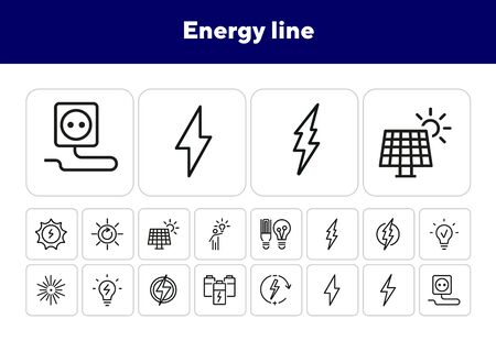 Energy line icons. Set of line icons. Electric socket, energy storage, laser lightning. Energy concept. Vector illustration can be used for topics like electricity, environment Ilustrace