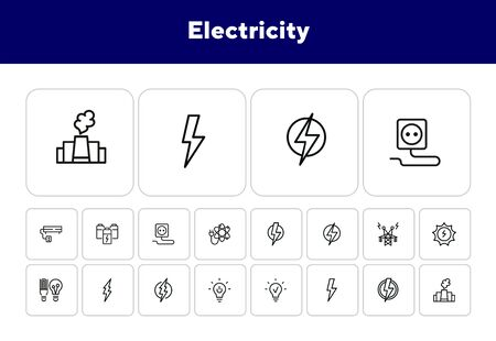 Electricity line icon. Set of line icons on white background. Energy concept. High voltage, lightning, lamp. Vector illustration can be used for topics like engineering, power Ilustrace