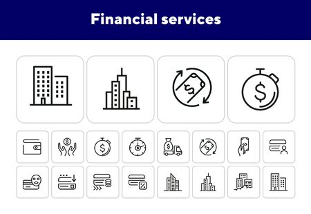 Financial services line icon set. Credit card, office building, money, cash, wallet. Finance concept. Can be used for topics like banking, cashback, payment