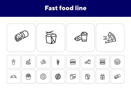 Fast food line icon set. Set of line icons on white background. Pizza, coffee, sandwich, burger. Food concept. Vector illustration can be used for topics like food, street cafe, snack