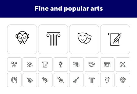 Fine and popular arts icon. Set of line icons on white background. Theater, painting, music, cinema, photography. Hobby concept. Vector illustration can be used for topics like leisure, entertainment