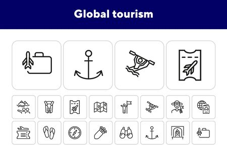 Global tourism line icon set. Trip, voyage, getaway. Adventure concept. Can be used for topics like vacation, summer, journey