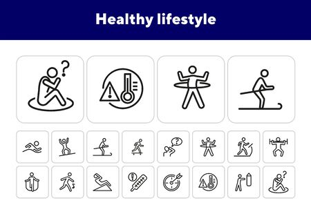 Healthy lifestyle line icon set. Swimming, skiing, gym. Activity concept. Can be used for topics like sport, fitness, healthcare Illusztráció