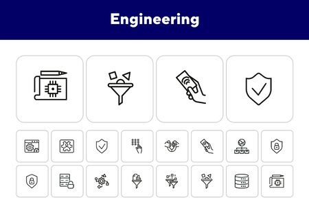 Engineering line icon set. Set of line icon on white background. Technology concept. Security, fuel, machine. Vector illustration can be used for topics like progress, industry Illusztráció