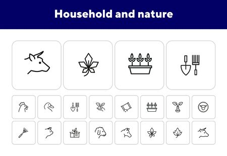 Household and nature icons. Set of line icons on white background. Animal, grocery, equipment. Housekeeping concept. Vector illustration can be used for topics like nature, homegrown